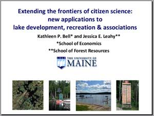 Extending the frontiers of citizen science: new applications to lake development, recreation & associations